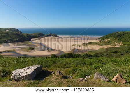 The Gower Three Cliff Bay Wales uk in summer sunshine beautiful part of the peninsula