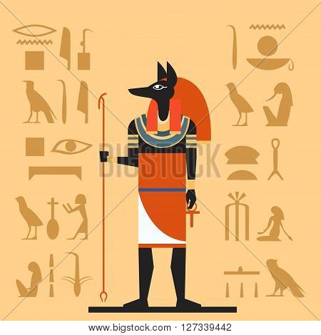 Vector image of the Anubis the god of the Egypet flat banner