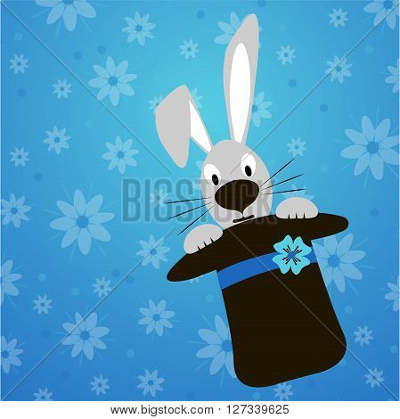 Rabbit peeking out of a hat on a blue background with flowers