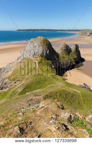 Three Cliffs Bay the Gower Wales uk in summer sunshine beautiful part of the peninsula