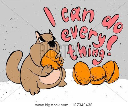 Motivation cartoon concept - cute hamster i can do everything