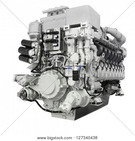 Diesel train engine isolated under the white background