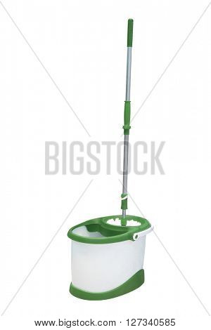 mop and a bucket under the light background