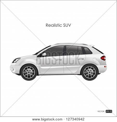 Realistic model of SUV on white background. Detailed drawing of an SUV. Vector illustration.