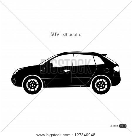 Black SUV silhouette on white background. Detailed drawing of an SUV. Vector illustration.
