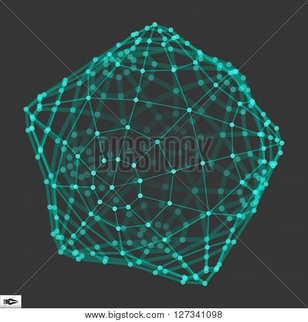 Wireframe Object with Dots. Abstract 3D Connection Structure. Geometric Shape for Design.