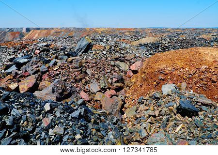 View of dumps of depleted iron ore