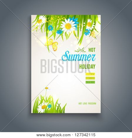 Hot summer card. Nature template for design banner,ticket, leaflet, card, poster and so on.