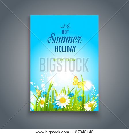 Bright summer card. Nature template for design banner,ticket, leaflet, card, poster and so on.