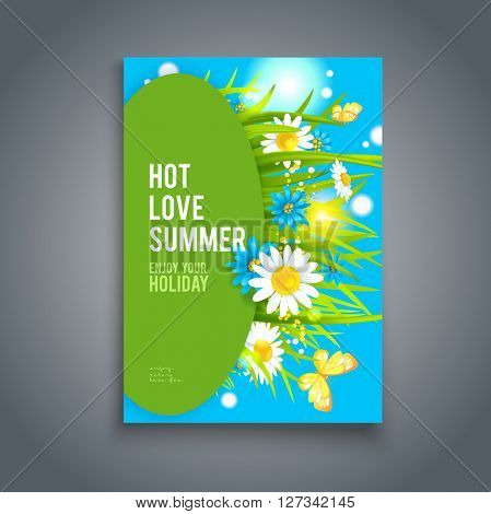 Bright summer flowers background. Nature template for design banner,ticket, leaflet, card,  poster and so on.