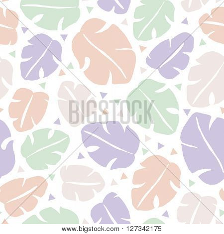 Seamless tropical lush forest leaves abstract jungle geometric background pattern in vector
