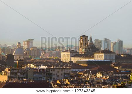 Cityscape Of Torino (turin, Italy) At Sunset, Historical Buildings