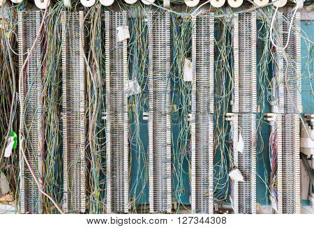 Telecoms wiring panel for telephones PBX or for ethernet internet cabling