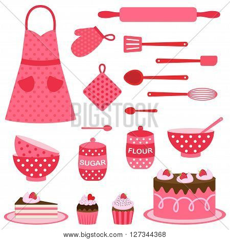 Cute vector icons collection on baking theme in pink and red colors