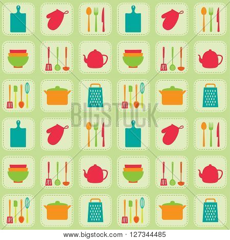 Kitchen tools seamless vector pattern. Utensil and kitchenware icons