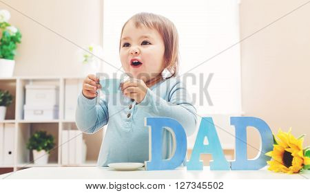 Toddler Girl Celebrating Father's Day