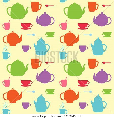 Vector seamless pattern of tea pots and cups