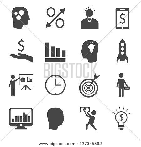 Set of 16 business and finance icons