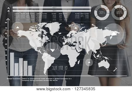 World Map Global International Trade Statistics Concept