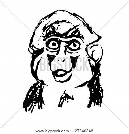 Graphic image of the emotional monkeys. Abstraction on a white background in the form of a monkey head vector
