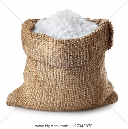 Sea salt in bag isolated on white background. Condiment crystals of sea salt