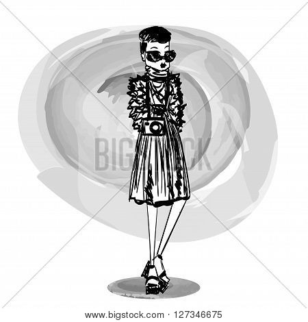 Fashion Sketched Vector Stylish Girl Illustration with a Sketched Stylish Fashion Model Wearing Stylish Brand New Clothes and Accessories for the Fashion Week Site Book or Magazine Illustration