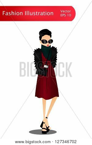 Fashion Colorful Vector Stylish Girl Illustration with a Colorful Stylish Fashion Model Wearing Stylish Brand New Clothes and Accessories for the Fashion Week Site Book or Magazine Illustration