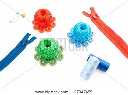 Zipper, Two Thimbles, Thread And Plastic Buttons