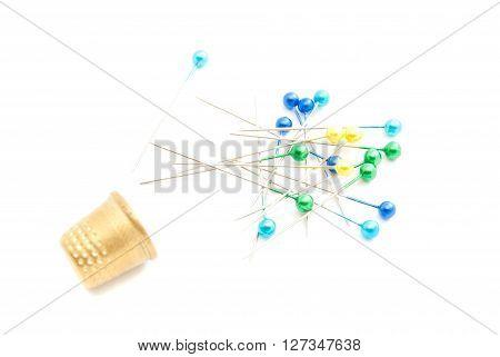Colored Pins And Thimble