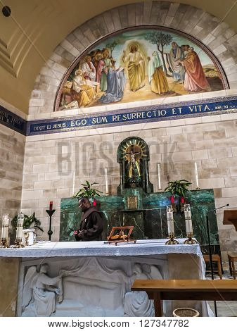 Bethany Israel July 14 2015 r .: Mosaic. Bethany Church in commemorating the home of Mari Martha and Lazarus Jesus' friends as well as the tomb of Lazarus. Israel