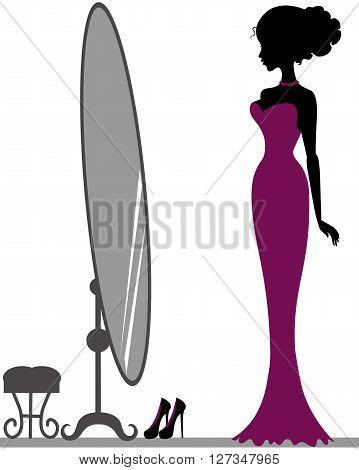 Silhouette of beautiful girl near mirror, decorative hand drawn illustration