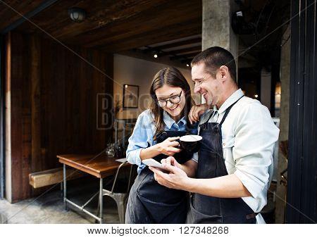 Partner Talking Coffee Shop Worker Concept