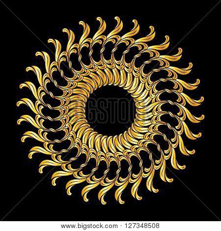 Ornate florid pattern in golden shades on black background