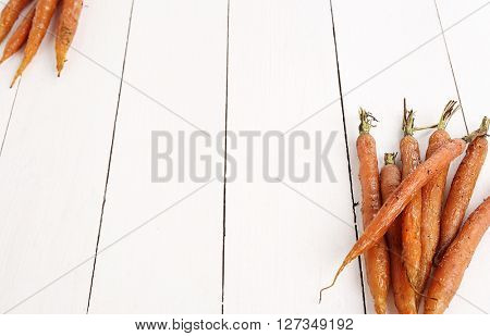 Food, vegetables. Baked carrots on the table
