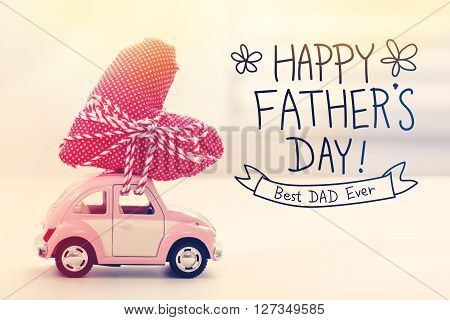 Happy Fathers Day Message With Miniature Pink Car