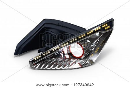 Headlamp Car Isolated On White Background 3D Illustration