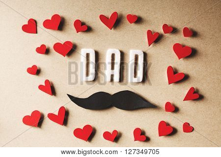 Felt Dad Text With Mustache