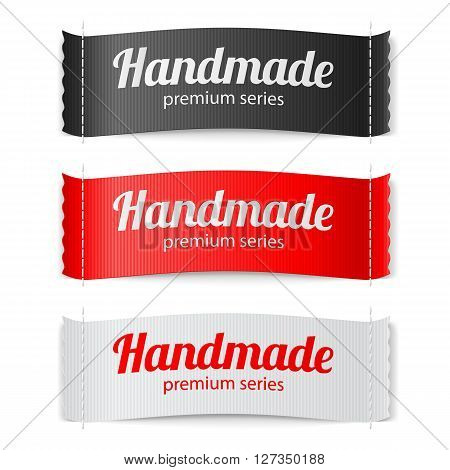 Set of Labels Handmade series hand made red white and black