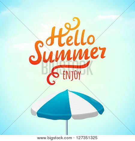 Hello summer typography inscription with parasol. Vector Illustration