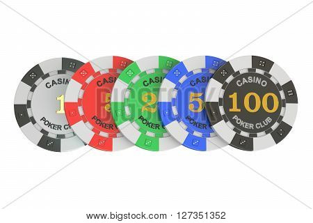 Casino tokens row 3D rendering isolated on white background