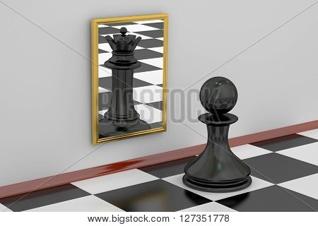 Pawn looking in the mirror seeing queen strategy concept. 3D rendering