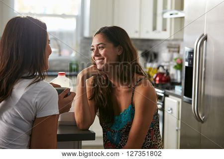 Gay female couple in their 20s talking in their kitchen