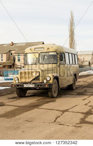 REIFKA - RUSSIA 22ND MARCH 2016 - Traditional Russian KaVZ 685 village bus is the essential transportation mode of transport for many residents in Russian villages out of the main city areas.