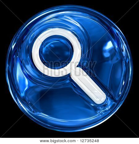 Search And Magnifier Icon Blue.
