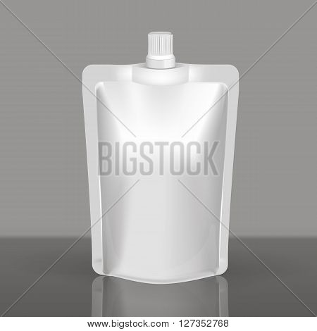 Mockup Blank Foil Food Or Drink - coffee, cocoa, sweets, olives, sauce. White Realistic Plastic Pouch With Cap Ready For Your Design And Branding.