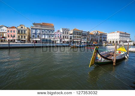 Aveiro Portugal - 22 May2015: Moliceiro boats sail along the central canal