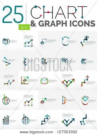 Collection of linear abstract logos - chart and graph icons - clean geometric symbols. Growing stats finance concepts, clean modern symbols. Branding logotype company emblem ideas and branding
