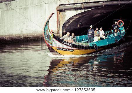 Aveiro Portugal - 22 May2015: Traditional boats in Aveiro