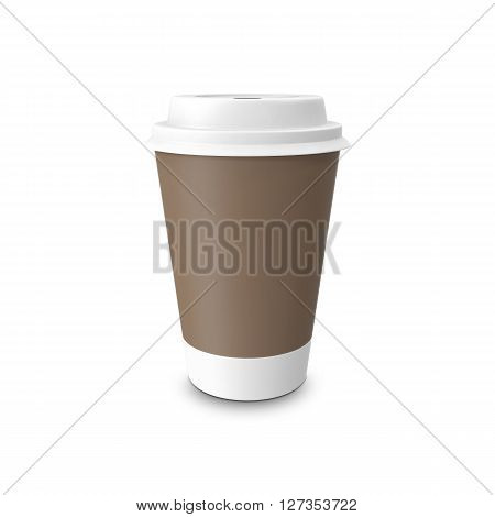Mock-up take-out coffee in thermo cup. Isolated on a white. 3D illustration