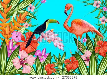 Exotic tropical background with toucan and flamingo